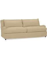 "Carlisle Slipcovered Grand Sofa 90.5"" with Bench Cushion, Polyester Wrapped Cushions, Performance Everydaysuede(TM)Oat"