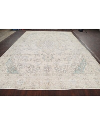 """One-of-a-Kind Hand-Knotted 1960s 9'4"""" x 12'9"""" Wool Area Rug in Ivory/Blue/Gray Rugsource"""