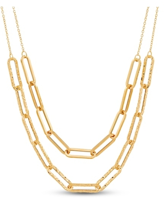 Jared The Galleria Of Jewelry Italia D'Oro Double Paperclip Necklace 14K Yellow Gold
