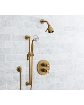 Warby Thermostatic Cross-Handle Hand-Held Shower Faucet Set, Brass Finish