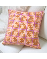 Artisan Pillows Greek Key Geometric Cotton Throw Pillow MO-026OR-01 / MO-026GN-01 Color: Orange/Pink