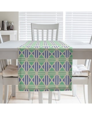 Full Color Lined Diamonds Table Runner (16 x 72 - Cotton Blend - Yellow Green & Blue)