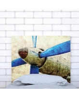 Noyo Home Upholstered Panel Headboard PropellerBlue_ Size: Twin