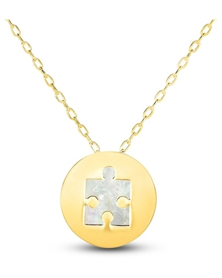 Jared The Galleria Of Jewelry Mother-of-Pearl Jigsaw Puzzle Necklace 14K Yellow Gold