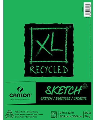 Canson XL Series Recycled Paper Sketch Pad, Fold Over, 50 Pound, 9 x 12 Inch, 100 Sheets