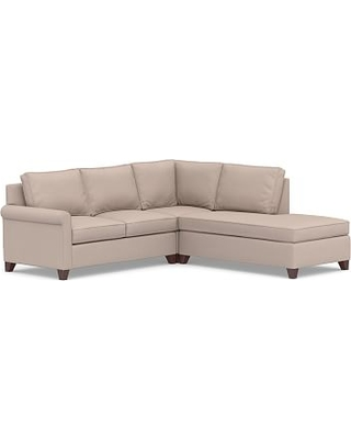 Cameron Roll Arm Upholstered Left 3-Piece Bumper Sectional, Polyester Wrapped Cushions, Performance Heathered Tweed Desert