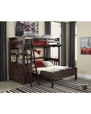 Highlands Collection Espresso Wood Twin Loft Bed with Full Lower Bed (Espresso - Twin)