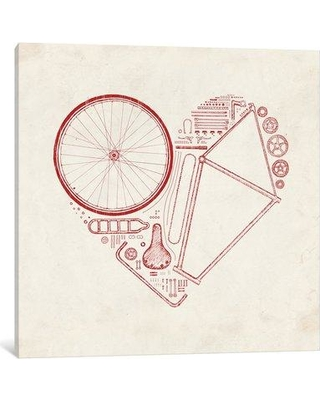 "East Urban Home 'Love Bike in Red' Painting Print on Wrapped Canvas ESTN6495 Size: 26"" H x 26"" W x 1.5"" D"