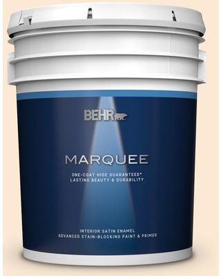BEHR MARQUEE 5 gal. #300C-1 Princess Ivory Satin Enamel Interior Paint and Primer in One