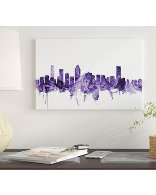 """East Urban Home 'Montreal Canada Skyline' by Michael Tompsett Graphic Art Print on Wrapped Canvas EUME4832 Size: 12"""" x 18"""" x 1.5"""""""