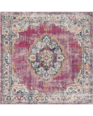 Big Deal On Fuchsia Light Gray Medallion Loomed Square Area