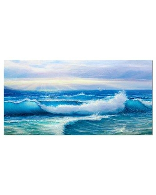 "East Urban Home 'Sea Wave' Graphic Art Print on Wrapped Canvas ETUC2631 Size: 16"" H x 32"" W x 1"" D"