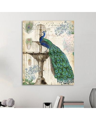 "Ophelia & Co. 'Vintage Peacock I' Graphic Art Print on Wrapped Canvas OPCO4449 Size: 15"" H x 12"" W"