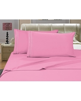 Elegant Comfort 1500 Series 4-Piece Light Pink Triple Marrow Embroidered Pillowcases Microfiber Full Size Bed Sheet Set