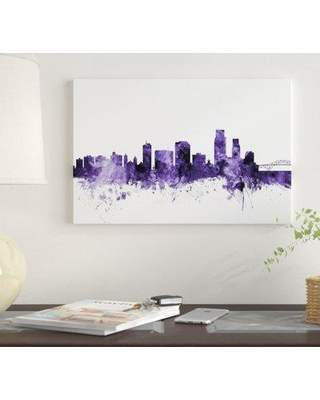 """East Urban Home 'Corpus Christie Texas Skyline' by Michael Tompsett Graphic Art Print on Wrapped Canvas EUME4417 Size: 40"""" x 60"""" x 1.5"""""""
