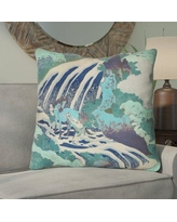 Bloomsbury Market Channelle Horse and Waterfall Euro Pillow BBMT6017 Color: Teal
