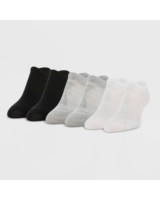 All Pro Women's Perfect Heel Forming Fit 6pk Liner Athletic Socks - White/Gray/Black 4-10