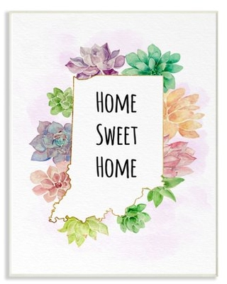 The Stupell Home Decor Collection Indiana State Home Sweet Home Succulent Watercolor Vignette Wood Wall Art