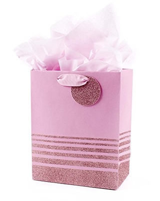 """Hallmark 9"""" Medium Gift Bag with Tissue Paper (Pink Glitter Stripes) for Birthdays, Mothers Day, Baby Showers, Easter, Bridal Showers or Any Occasion"""
