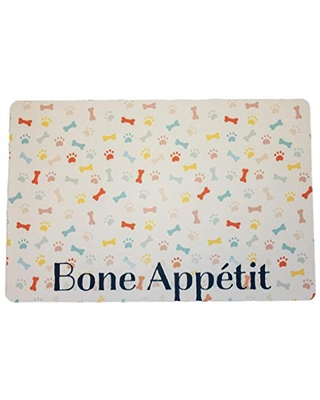 """Bone Appétit Pet Placemat 12"""" x 18"""" Washable Mat for your Pet Food Bowl and Water Dish - Made in the USA"""