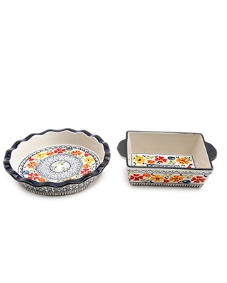 """Gibson Elite Hand-Painted Dinnerware Set, 10.5"""" Pie Dish and 8"""" Square Bakeware, Luxembourg"""