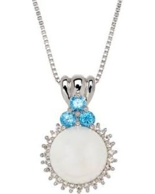 Belk & Co. Gray Freshwater Pearl and White and Blue Topaz Round Pendant in Sterling Silver