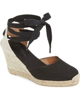 Women's Soludos Wedge Lace-Up Espadrille Sandal, Size 6.5 M - Black