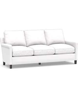 """Tyler Roll Arm Upholstered Sofa 78"""" without Nailheads, Down Blend Wrapped Cushions, Twill White"""