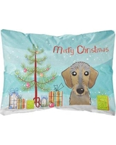 The Holiday Aisle Paulding Christmas Tree and Wirehaired Dachshund Fabric Indoor/Outdoor Throw Pillow BI148807
