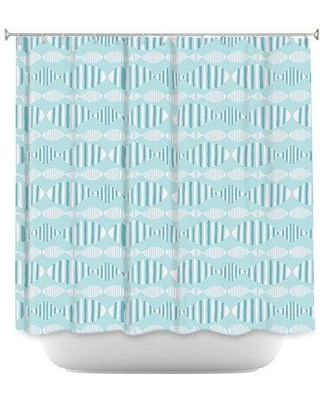 East Urban Home Fish In A Row Single Shower Curtain BF030739