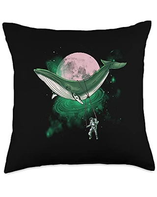 Surrealism Whale Inspired Astronaut Ocean Related Swingset D Throw Pillow, 18x18, Multicolor