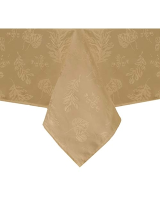 """Elrene Home Fashions Elegant Woven Leaves Jacquard Damask Tablecloth for Fall/Harvest/Thanksgiving, 52"""" x 70"""", Gold"""