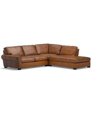 Turner Roll Arm Leather Left 3-Piece Bumper Sectional, Down Blend Wrapped Cushions, Burnished Bourbon