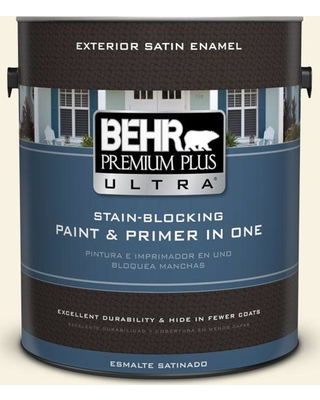 BEHR ULTRA 1 gal. #BWC-03 Lively White Satin Enamel Exterior Paint and Primer in One