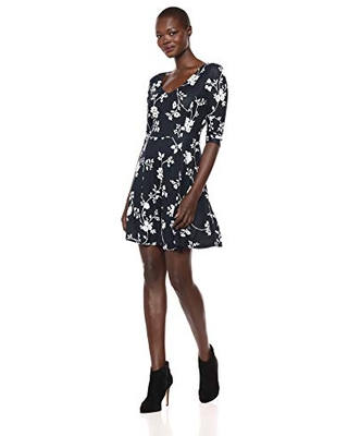 Lark & Ro Women's Three Quarter Sleeve V-Neck Fit and Flare Dress, Navy White Delicate Floral Print, X-Small