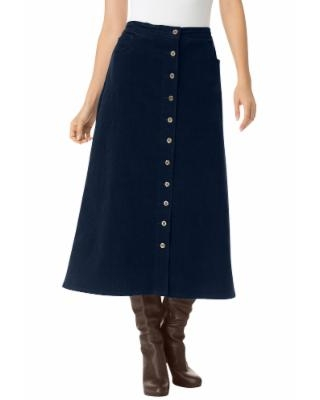 Plus Size Women's Corduroy skirt by Woman Within in Navy Blue (24 Wide) | Spandex/Cotton