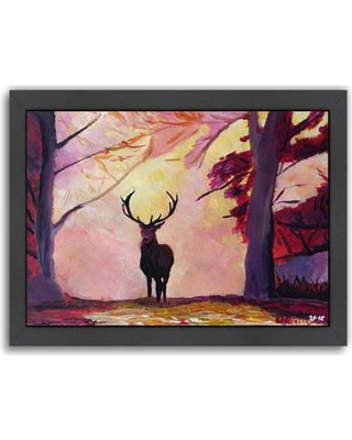 East Urban Home The Deer Coming from The Glade Framed Painting Print EUNH6246 Frame Color: Black