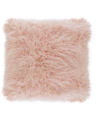 """18"""" Poly Filled Faux Mongolian Fur Pillow Rose - Saro Lifestyle, Red"""