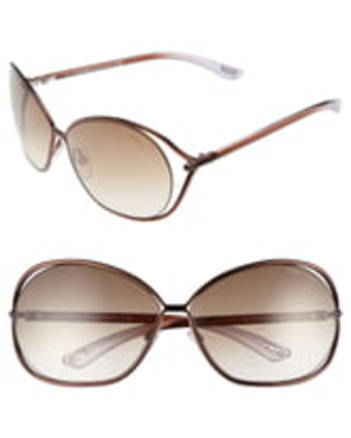 Women's Tom Ford Carla 66mm Oversized Round Metal Sunglasses - Brown/ Brown