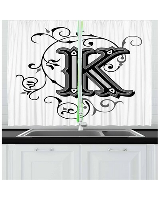 2 Piece Letter K Kitchen Curtain East Urban Home