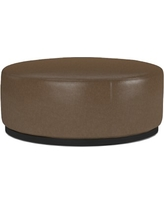 Robertson Ottoman, Round, Italian Distressed Leather, Solid, Toffee