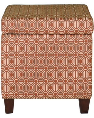 Geometric Patterned Square Wooden Ottoman with Lift Off Lid Storage, Orange and Cream