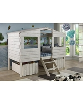 Twin Tree House Low Loft Bed in Rustic Sand w/ Underbed Storage - Donco 1380TLRS_1381-RS
