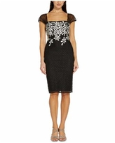Adrianna Papell Embroidered-Floral Sheath Dress - Black/Ivory
