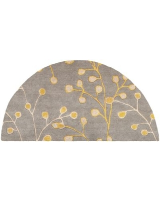 Surya Athena Floral 2' x 4' Hand Tufted Hearth Rug in Grey/Gold