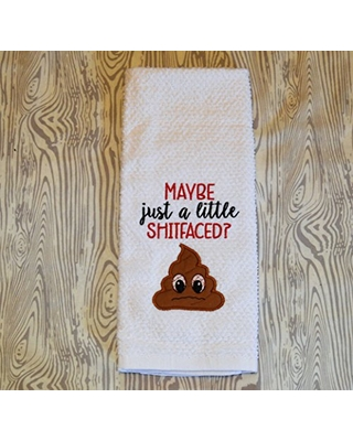 Embroidered Kitchen Towel Maybe just a little shitfaced Poop emoji