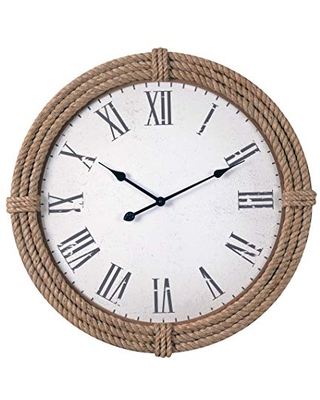 Kenroy Home Kenroy 65075RP Transitional Wall Clock from Rudy Collection in Wood/Natural Material Finish, 8.00 inches, Rope