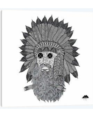"""East Urban Home 'Chief Great Beard' By MULGA Graphic Art Print on Wrapped Canvas ETRC6067 Size: 18"""" H x 18"""" W x 0.75"""" D"""