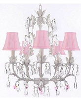 House of Hampton Moldenhauer 5-Light Shaded Chandelier HMPT3555 Crystal Color: Pink Shade Color: Pink