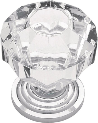 Liberty 1-1/4 in. (32mm) Polished Chrome with Clear Faceted Acrylic Cabinet Knob